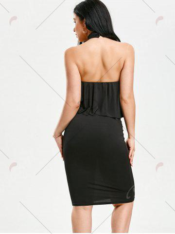 Chic High Neck Flounce Backless Sleeveless Work Christmas Party Dress - L BLACK Mobile
