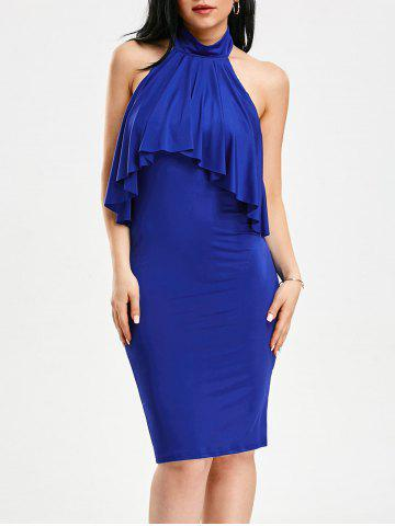 Discount High Neck Flounce Backless Sleeveless Work Christmas Party Dress - XL BLUE Mobile