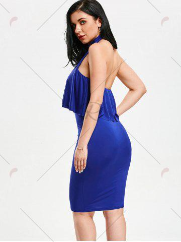 Discount High Neck Flounce Backless Sleeveless Work Christmas Party Dress - L BLUE Mobile