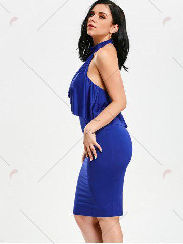 Chic High Neck Flounce Backless Sleeveless Work Christmas Party Dress - L BLUE Mobile