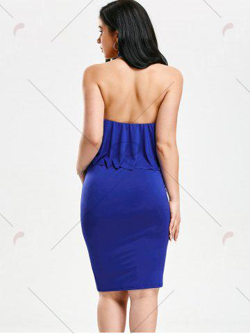 Affordable High Neck Flounce Backless Sleeveless Work Christmas Party Dress - L BLUE Mobile
