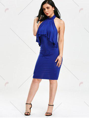 Outfit High Neck Flounce Backless Sleeveless Work Christmas Party Dress - M BLUE Mobile