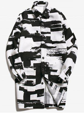 Shop Turndown Collar Geometric Printed Coat WHITE AND BLACK M