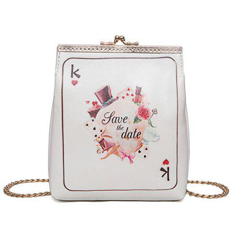 Fashion Poker Print Chain Crossbody Bag - WHITE  Mobile