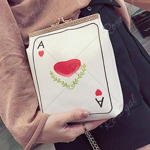 Buy Poker Print Chain Crossbody Bag - RED  Mobile