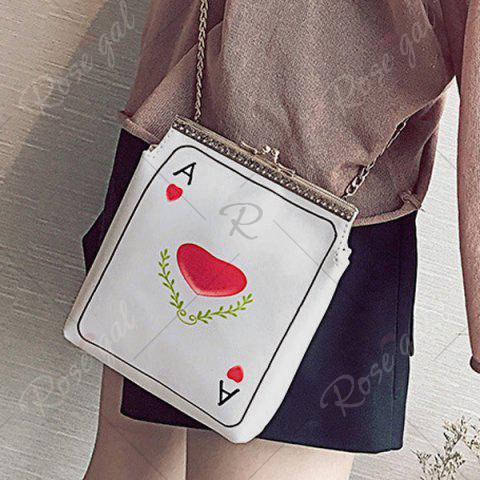 Discount Poker Print Chain Crossbody Bag - RED  Mobile