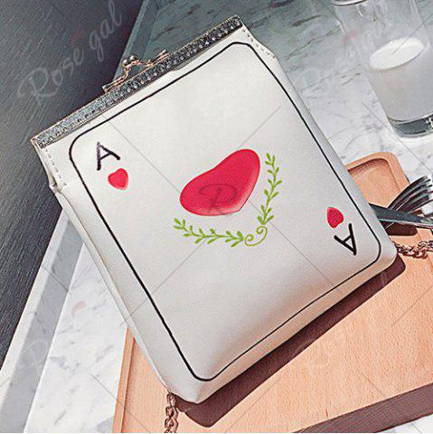Fashion Poker Print Chain Crossbody Bag - RED  Mobile