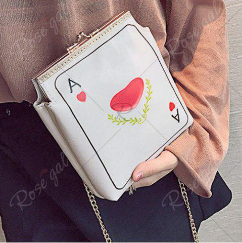 Hot Poker Print Chain Crossbody Bag - RED  Mobile