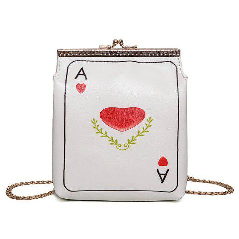 Online Poker Print Chain Crossbody Bag - RED  Mobile