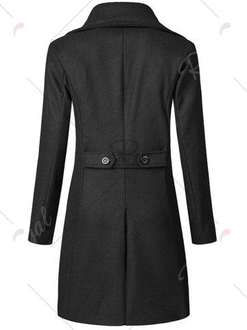Shop Wide Lapel Double Breasted Trench Coat - 3XL BLACK Mobile