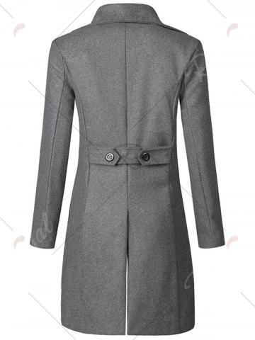 Best Wide Lapel Double Breasted Trench Coat - 3XL GRAY Mobile