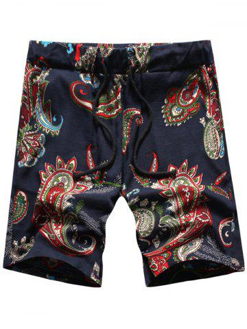 Affordable Paisley Print Drawstring Shorts PURPLISH BLUE XL