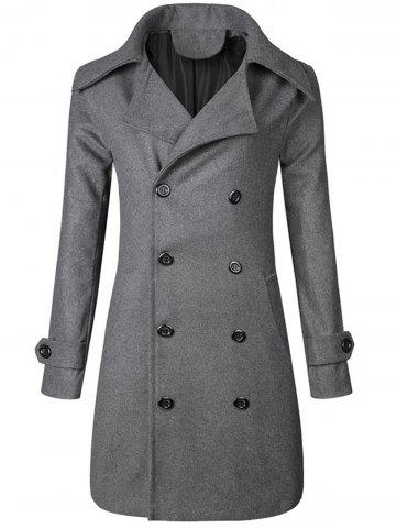 Discount Wide Lapel Double Breasted Trench Coat GRAY M