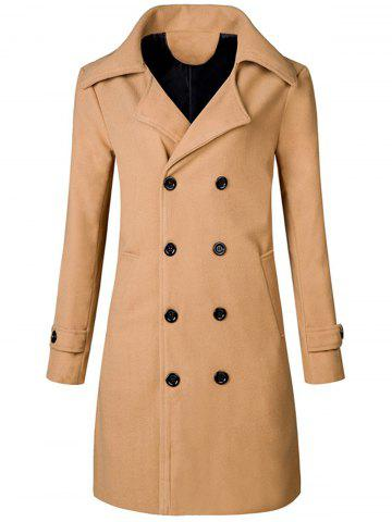 Wide Lapel Double Breasted Trench Coat - Khaki - 3xl