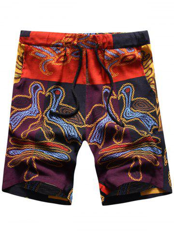 Online Abstract Animal Print Drawstring Shorts COLORMIX XL
