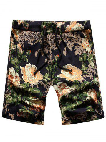 Discount Peony Print Drawstring Shorts - 2XL BLACK Mobile