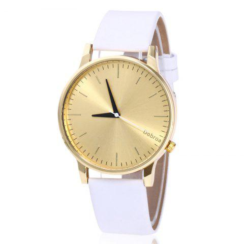Online Minimalist Faux Leather Strap Quartz Watch