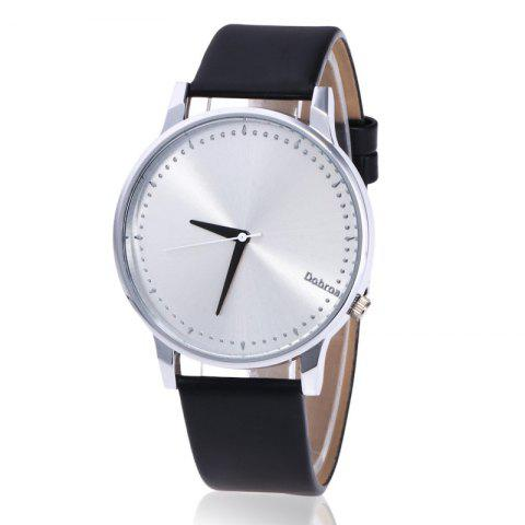 Buy Minimalist Faux Leather Strap Quartz Watch BLACK + SILVER