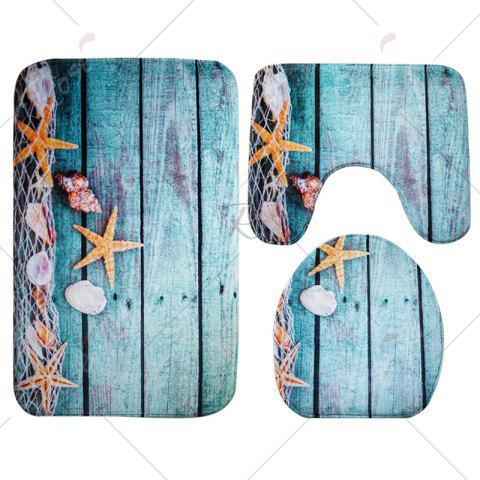 Outfit 3Pcs/Set Flannel Plank Starfish Bath Toilet Mat - LAKE BLUE  Mobile