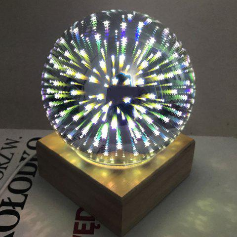 Fashion Colorful 3D Fireworks Ball Shape USB Table Lamp with Wood Base - YELLOW  Mobile