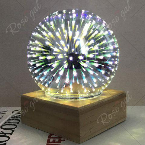 Affordable Colorful 3D Fireworks Ball Shape Table Lamp with Wood Base - YELLOW  Mobile