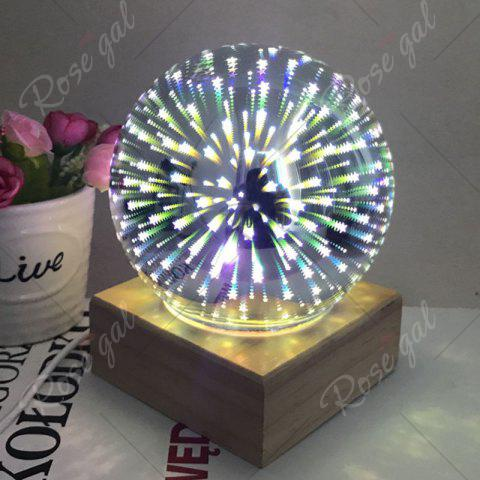 New Colorful 3D Fireworks Ball Shape Table Lamp with Wood Base - YELLOW  Mobile