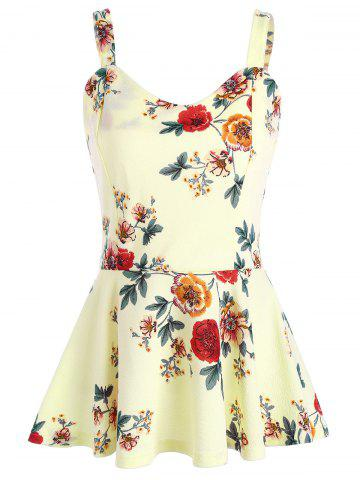 Latest High Waist Backless Floral Peplum Tank Top PALOMINO M