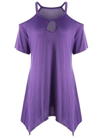 Keyhole Neck Cold Shoulder Plus Size Tunic Top - Purple - 5xl
