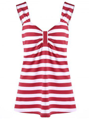 Affordable Plus Size Striped Bowknot Top RED XL