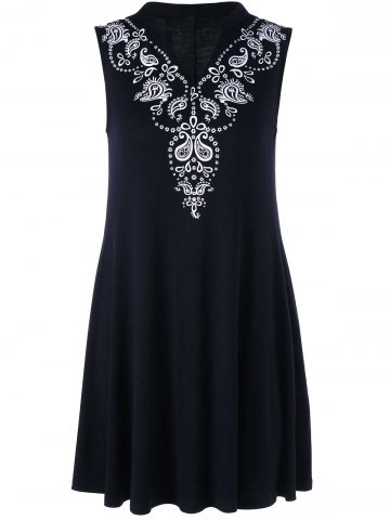 Best Floral Print V Neck Longline Tank Top BLACK XL