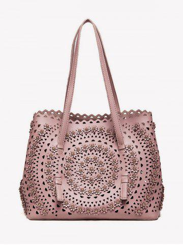 Sac à bandoulière Rivet Hollow Out ROSE PÂLE