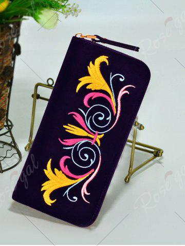 Affordable Embroidered Velvet Zip Around Wallet - PURPLE  Mobile