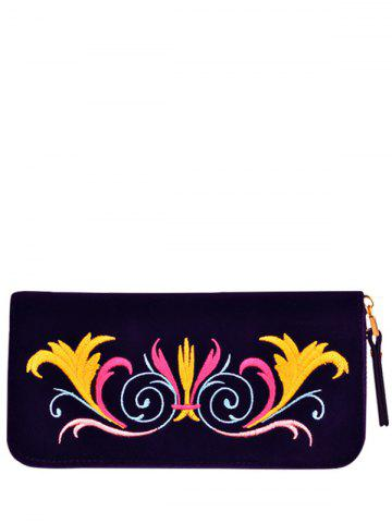 Embroidered Velvet Zip Around Wallet - Purple