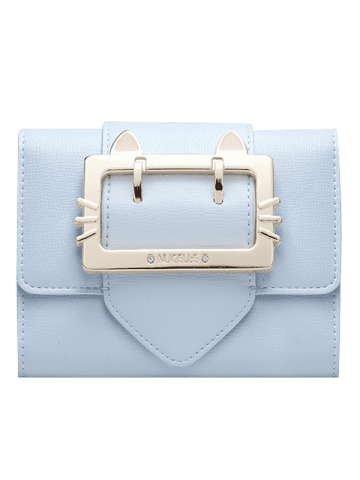 Hot Tri Fold Buckle Strap Small Wallet - LIGHT BLUE  Mobile
