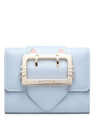 Tri Fold Buckle Strap Small Wallet - Light Blue