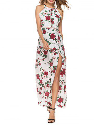 Chic Backless Hollow Out High Split Floral Maxi Dress FLORAL XL