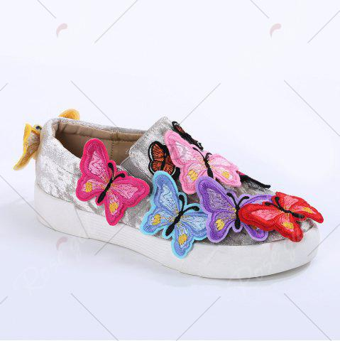 Shops Round Toe Butterfly Slip On Sneakers - 41 GRAY Mobile
