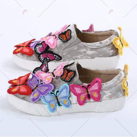 Latest Round Toe Butterfly Slip On Sneakers - 41 GRAY Mobile