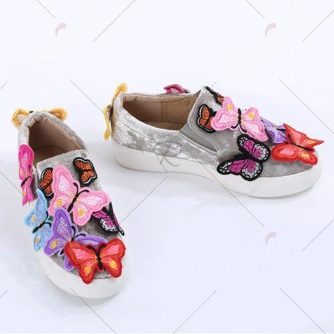 Unique Round Toe Butterfly Slip On Sneakers - 41 GRAY Mobile