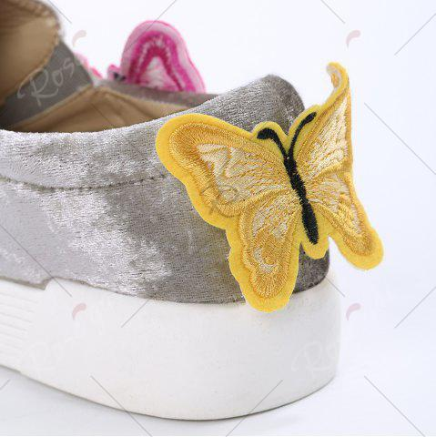 Online Round Toe Butterfly Slip On Sneakers - 41 GRAY Mobile