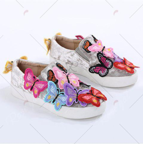 Affordable Round Toe Butterfly Slip On Sneakers - 41 GRAY Mobile