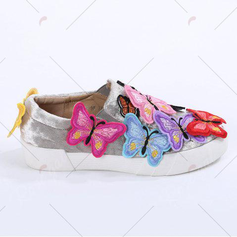 Best Round Toe Butterfly Slip On Sneakers - 41 GRAY Mobile