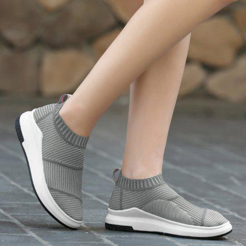 Chic Breathable Striped Athletic Shoes - 38 GRAY Mobile