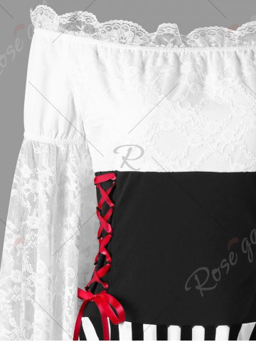 Buy Lace Sleeves Off The Shoulder Handkerchief Dress - L WHITE AND BLACK Mobile