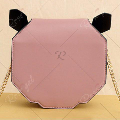 Trendy Novelty Panda Shaped Crossbody Bag - PINK  Mobile
