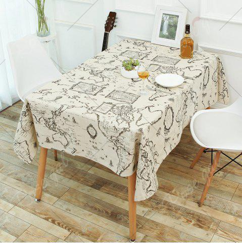 Best Kitchen Product World Map Print Linen Table Cloth - W55 INCH * L55 INCH GRAY Mobile