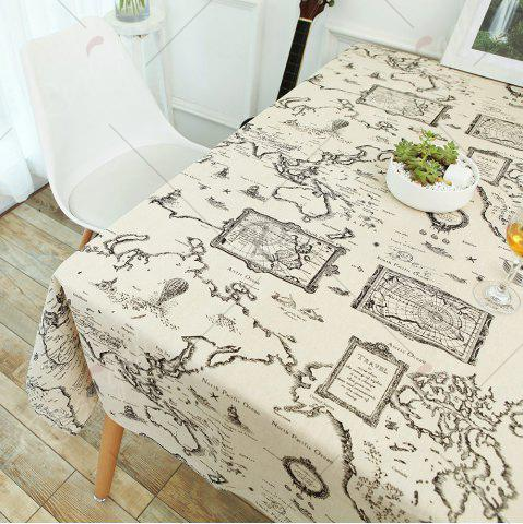 Trendy Kitchen Product World Map Print Linen Table Cloth - W55 INCH * L55 INCH GRAY Mobile