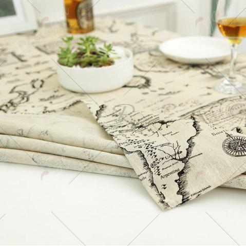 Trendy Kitchen Product World Map Print Linen Table Cloth - W55 INCH * L71 INCH GRAY Mobile