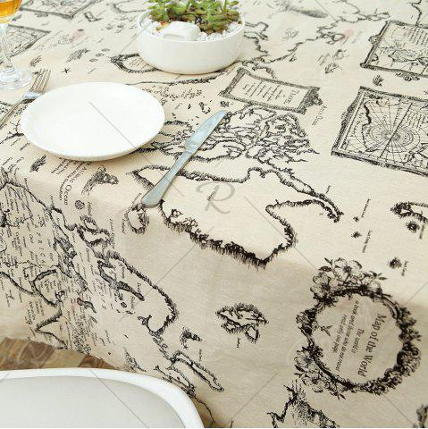 Fancy Kitchen Product World Map Print Linen Table Cloth - W55 INCH * L78 INCH GRAY Mobile