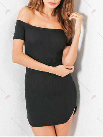 Latest Knit Bodycon Ribbed Off The Shoulder Dress - S BLACK Mobile